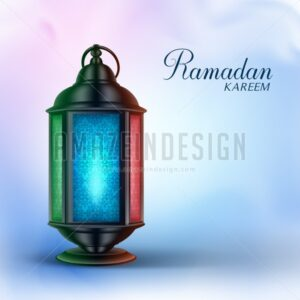 Ramadan Vector Lantern or Fanous with Greetings - Amazeindesign