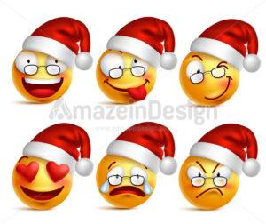 Santa Claus Emoticons or Smiley Faces in Vector - Amazeindesign
