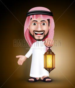 Saudi Arab Man Holding Lantern Vector Character - Amazeindesign