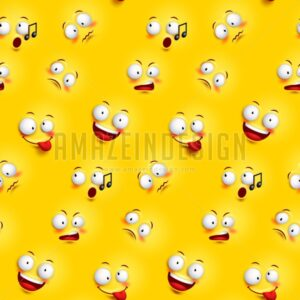 Seamless Smiley Face Pattern with Expressions - Amazeindesign