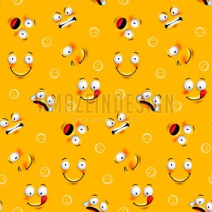 Smiley Face Seamless Pattern with Expressions - Amazeindesign