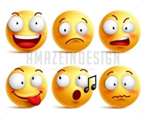 Smiley Face Vector Icons or Emoticons Set - Amazeindesign