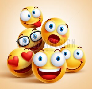 Smiley Faces Group of Vector Emoticon Characters - Amazeindesign
