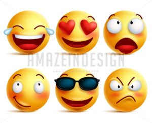 Smiley Icons and Emoticons Funny Faces in Vector - Amazeindesign