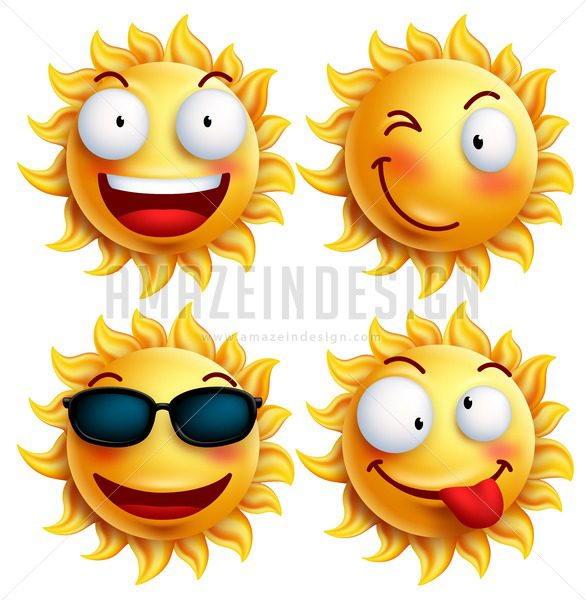 Sun Vector Character Set with Facial Expressions - Amazeindesign