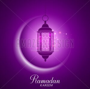 Vector Crescent Moon and Lantern for Ramadan - Amazeindesign