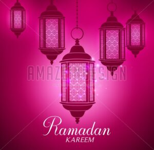 Vector Lanterns Background Silhouette - Amazeindesign