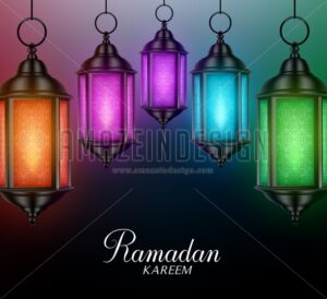 Vector Lanterns Background for Ramadan - Amazeindesign