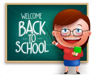 Back to School Teacher in Blackboard Vector - Amazeindesign
