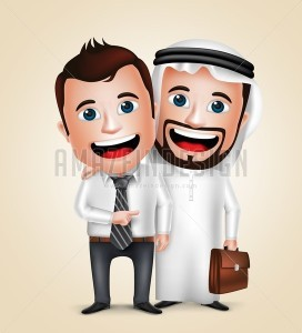 Arab Businessman Vector Characters Business Partners - Amazeindesign