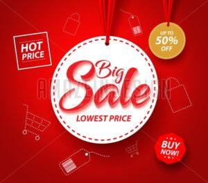 Big Sale Banner with Hanging Tag Price Vector - Amazeindesign