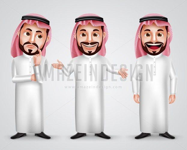 Saudi Arab Man Gestures Vector Character Set - Amazeindesign