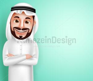 Saudi Arab Man Happy Posing Vector Character - Amazeindesign