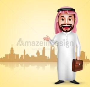 Saudi Arab Man Traveling Vector Character - Amazeindesign