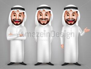 Saudi Arab Man Vector Character Set in Gestures - Amazeindesign