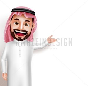 Saudi Arab Man Vector Character in Empty White Space - Amazeindesign