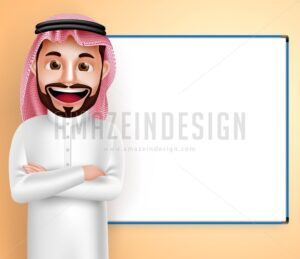 Speaking Saudi Arab Man Vector Character with Board - Amazeindesign