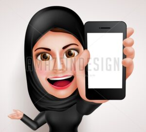 Arab Muslim Woman Holding Mobile Phone Character - Amazeindesign