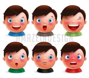 Boy Kid Avatar Facial Expressions Emoticon Vector - Amazeindesign