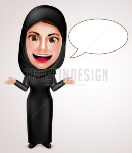 Female Muslim Arab Talking with Empty Speech Bubbles - Amazeindesign