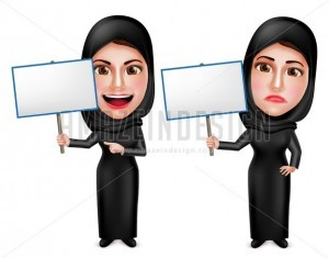 Female Muslim Holding Placard Sign Vector Characters - Amazeindesign