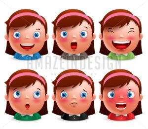 Girl Kid Avatar Facial Expressions Emoticon heads vector - Amazeindesign
