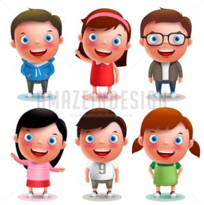 Kids Vector Characters Set with Different Outfits - Amazeindesign