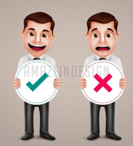 Man Vector Character Holding Right and Wrong Sign - Amazeindesign
