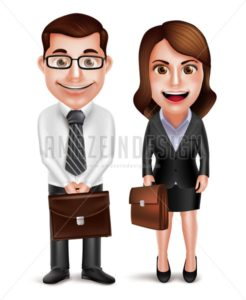 Man and Woman Vector Characters Holding Briefcase - Amazeindesign