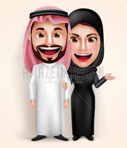 Muslim Arab Couple Man and Woman Vector Characters - Amazeindesign