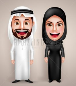 Muslim Arab Man and Woman Vector Character Wearing - Amazeindesign