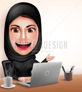 Muslim Arab Woman Professional Vector Character - Amazeindesign