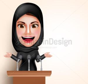 Muslim Arab Woman Talking in Microphone Character - Amazeindesign