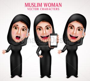 Muslim Woman Calling Mobile Vector Character - Amazeindesign