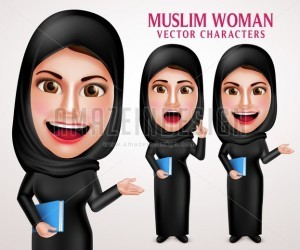Muslim Woman Holding Book Vector Character with Hijab - Amazeindesign