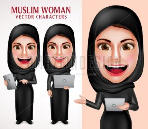 Muslim Woman Holding Laptop Vector Character - Amazeindesign