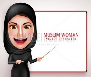 Muslim Woman Teaching or Presenting Vector Character - Amazeindesign