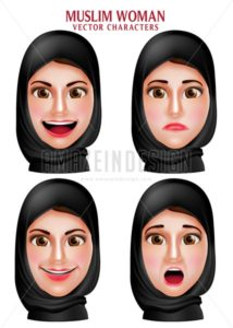 Muslim Woman Vector Characters Head Wearing Hijab - Amazeindesign