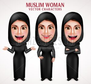 Muslim Woman Wearing Hijab Vector Characters - Amazeindesign