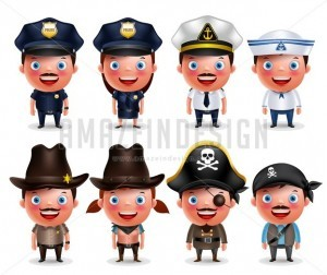 Police, Seafarers, Sheriff, Pirates Vector Character Set - Amazeindesign