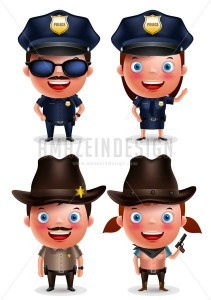 Policewoman, Sheriff and Policeman Vector Characters - Amazeindesign
