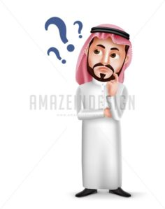 Saudi Arab Man Vector Character Confused or Thinking - Amazeindesign