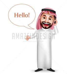 Saudi Arab Man Vector Character Holding Mobile Phone - Amazeindesign