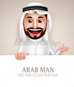 Saudi Arab Man Vector Character Holding White - Amazeindesign