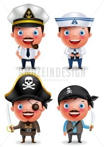 Ship Captain, Seafarer and Pirates Vector Character Set - Amazeindesign