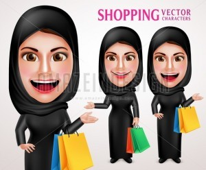 Shopping Muslim Woman Vector Character with Bags - Amazeindesign