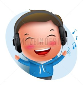 Boy Vector Character Listening to Music in Headset - Amazeindesign