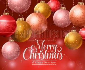 Christmas Background with Hanging Christmas Balls - Amazeindesign