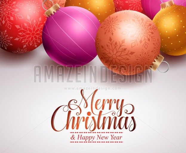Christmas Balls Background Design Vector Illustration - Amazeindesign