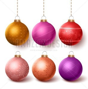 Christmas Balls Colorful Decoration Vector Set - Amazeindesign